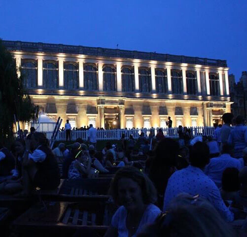 A picture of the wren library taken at night