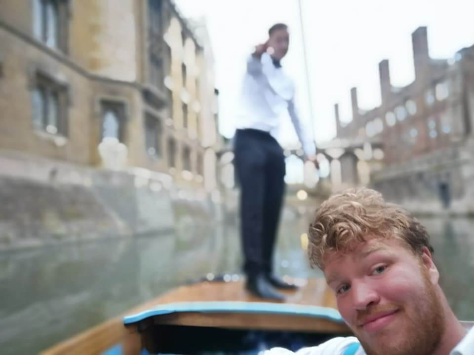 Punting after Clare May Ball